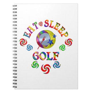 Essen Sie Schlaf-Golf Notizblock