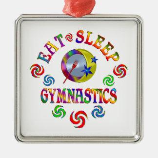 Essen Sie Schlaf-Gymnastik Quadratisches Silberfarbenes Ornament