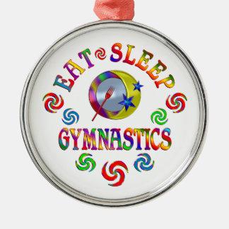 Essen Sie Schlaf-Gymnastik Rundes Silberfarbenes Ornament