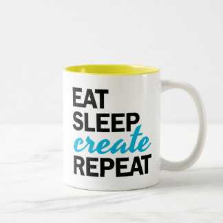 Essen Sie Schlaf herstellen Wiederholungs-Tasse Zweifarbige Tasse