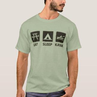 Essen Sie Schlaf-Kajak-Schwarzes T-Shirt