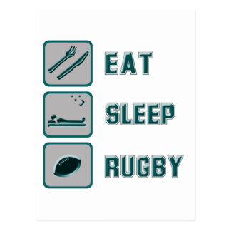 Essen Sie Schlaf-Rugby Postkarte