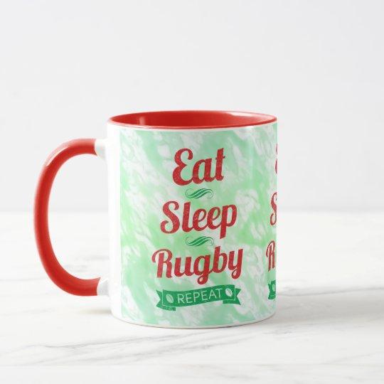Essen Sie Schlaf-Rugby-Wiederholung Tasse