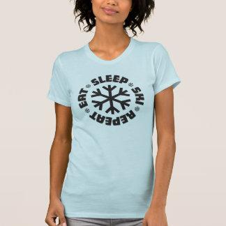 Essen Sie Schlaf-Ski-Wiederholung (schwarze T-Shirt