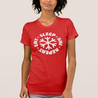 Essen Sie Schlaf-Ski-Wiederholung (weiße Grafik) T-Shirt