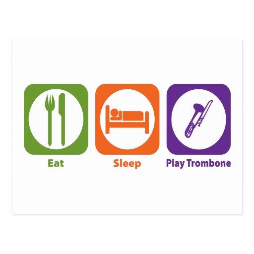 Essen Sie Schlaf-SpielTrombone Postkarte