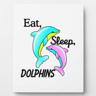 Essen Sie, schlafen Sie, Delphine Fotoplatten