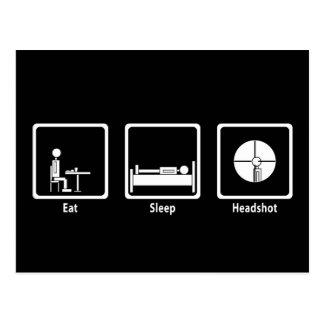 Essen Sie, schlafen Sie, Headshot - FPS Gamer Postkarte