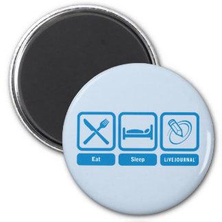 Essen Sie, schlafen Sie, LiveJournal Runder Magnet 5,1 Cm