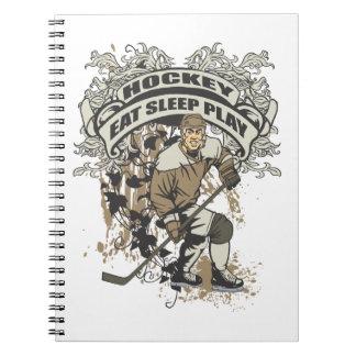 Essen Sie, schlafen Sie, spielen Sie Hockey Notiz Buch