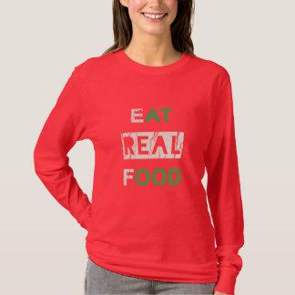 Essen Sie wirkliches Nahrungsmitteleinheimisches T-Shirt