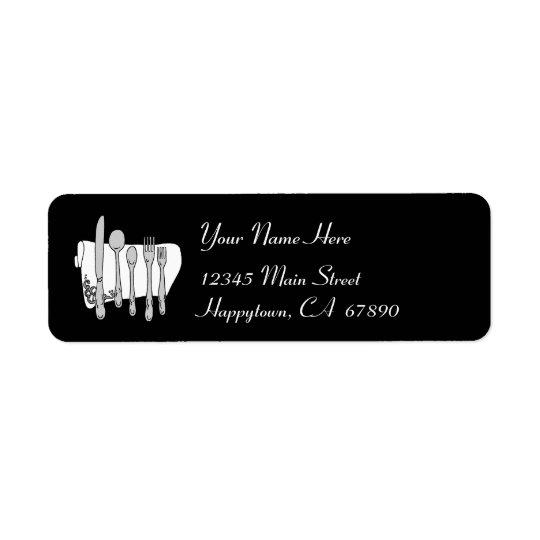 Essgeschirr-Schwarzweiss-Adressen-Etikett