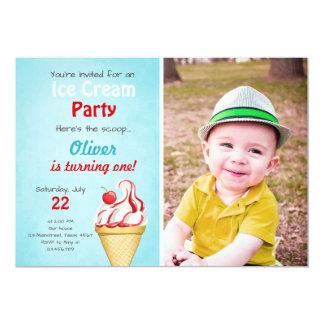 Été de bleu de garçon d'invitation d'anniversaire carton d'invitation  12,7 cm x 17,78 cm