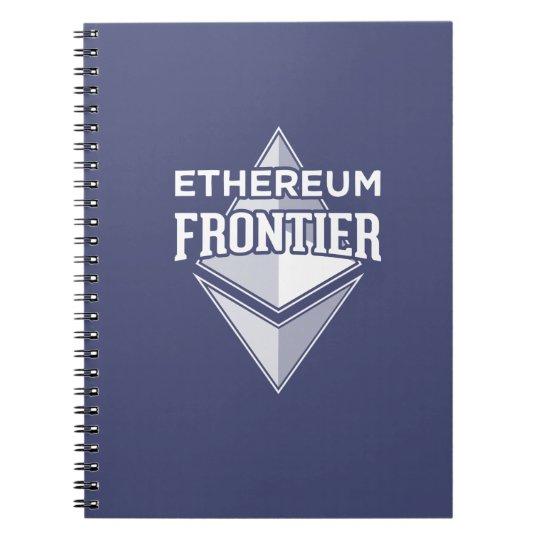 Ethereum Grenzweiß auf blauem Notizbuch Spiral Notizblock
