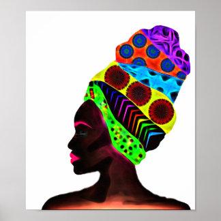 Ethnische afrikanische Frau mit einem bunten Poster
