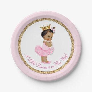 Ethnische Babyparty Prinzessin-Ballerina Pink Gold Pappteller