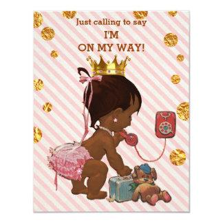 Ethnische Babyparty Prinzessin-On Phone Gold 10,8 X 14 Cm Einladungskarte