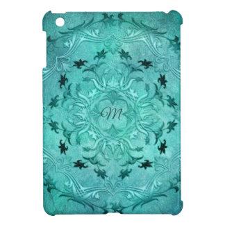 Ethnische BlumenTürkis-Schmutz-Mandala. Monogramm iPad Mini Hülle