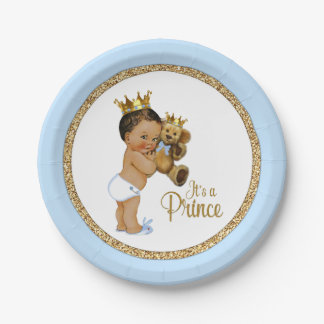 Ethnische Jungen-Babyparty Prinz-Teddybär Pappteller