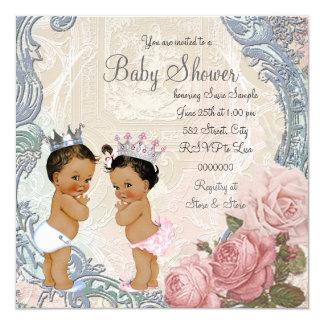 Ethnische Prinz-und Prinzessin-Twin Babyparty Quadratische 13,3 Cm Einladungskarte