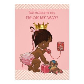 Ethnische Prinzessin auf Telefon-Babyparty-Sparren 12,7 X 17,8 Cm Einladungskarte