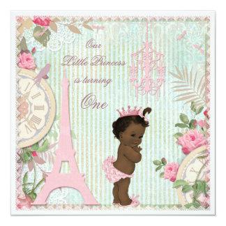 Ethnisches 1. Geburtstag Paris-Prinzessin-Shabby Quadratische 13,3 Cm Einladungskarte