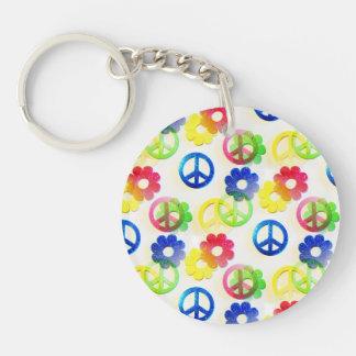 Étincelle hippie super de flower power de signes porte-clé rond en acrylique double face