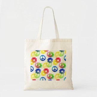Étincelles hippies super de flower power de signes sac en toile budget
