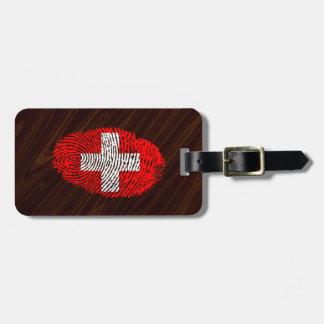 Étiquette À Bagage Drapeau d'empreinte digitale de contact de Suisse