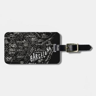 Étiquette À Bagage Étiquette de bagage de carte de Barcelone Espagne
