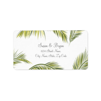 Étiquette de adresse de mariage de palmier