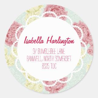 Étiquette de adresse de retour floral vintage chic sticker rond