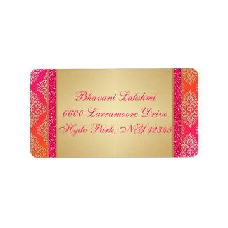 Étiquette de adresse orange rose de scintillement
