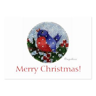étiquette deux de cadeau de Noël d'oiseau Carte De Visite