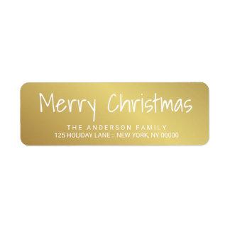 Étiquette imprimé à la main d'or de lettrage de