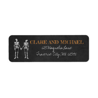 Étiquette Jusqu'au mariage noir orange squelettique de