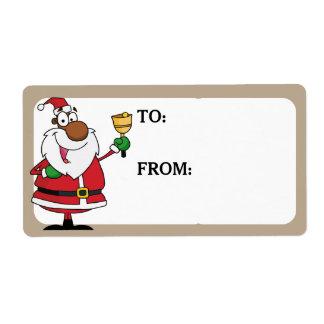 Étiquette La sonnerie de Bell Père Noël noir a imprimé