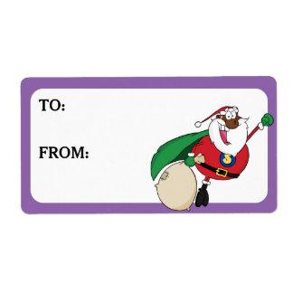 Étiquette Le super héros Père Noël noir a imprimé