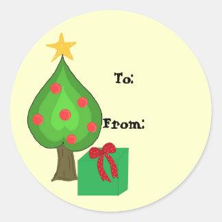 Étiquette lunatique de cadeau d'arbre adhésif rond