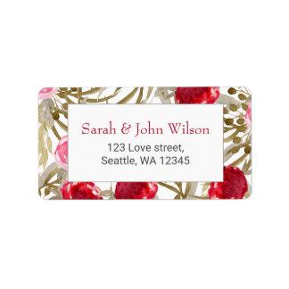 Étiquette Mariage floral de printemps de vin rouge