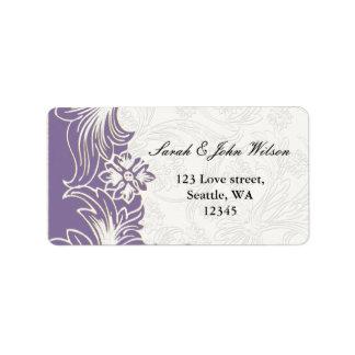Étiquette Mariage floral pourpre et blanc de ressort