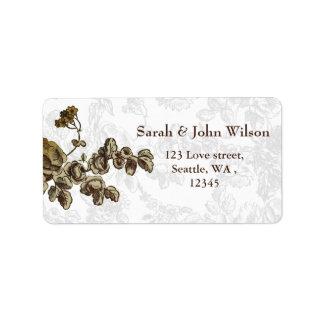 Étiquette Mariage floral vintage de Brown d'or chic