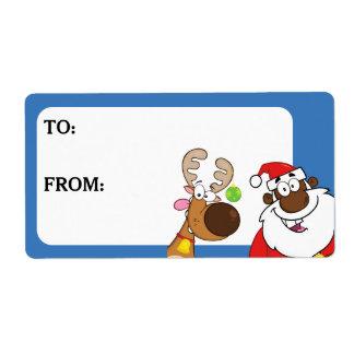 Étiquette Père Noël noir et le renne ont imprimé l'étiquette