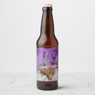 Étiquette Pour Bouteilles De Bière Bovin de hauts plateaux écossais