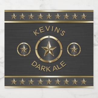 Étiquette Pour Bouteilles De Bière Coutume triple en métal d'étoile