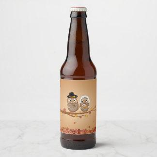 Étiquette Pour Bouteilles De Bière Hiboux lunatiques de thanksgiving