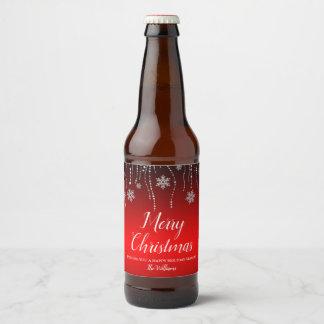 Étiquette Pour Bouteilles De Bière Noël noir rouge de flocons de neige d'étincelle