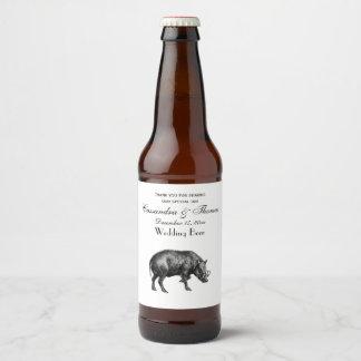 Étiquette Pour Bouteilles De Bière Sanglier vintage dessinant BW