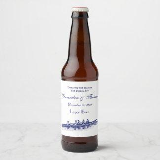 Étiquette Pour Bouteilles De Bière Sports aquatiques bleus d'équipe d'équipage de