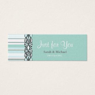 Étiquette rayée bleue et blanche de cadeau de mini carte de visite